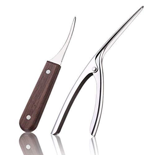 Haudang Juego de 2 herramientas de cocina de acero inoxidable para el limpiador de gambas, camarones, camarones