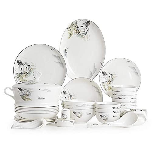 HKX Vajilla de cerámica, Juegos de vajilla de Lujo de 60 Piezas, Juegos de vajilla con Paisaje de Estilo Chino, combinación Completa de Porcelana, Platos/tazones/cucharas/Olla de Sopa, Servicio par