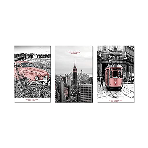 New York City Skyline Wall Art Decor Pink Black and White Modern Artwork Canvas Painting Prints Pictures Home Decor For Living Room Dining Room Bedroom