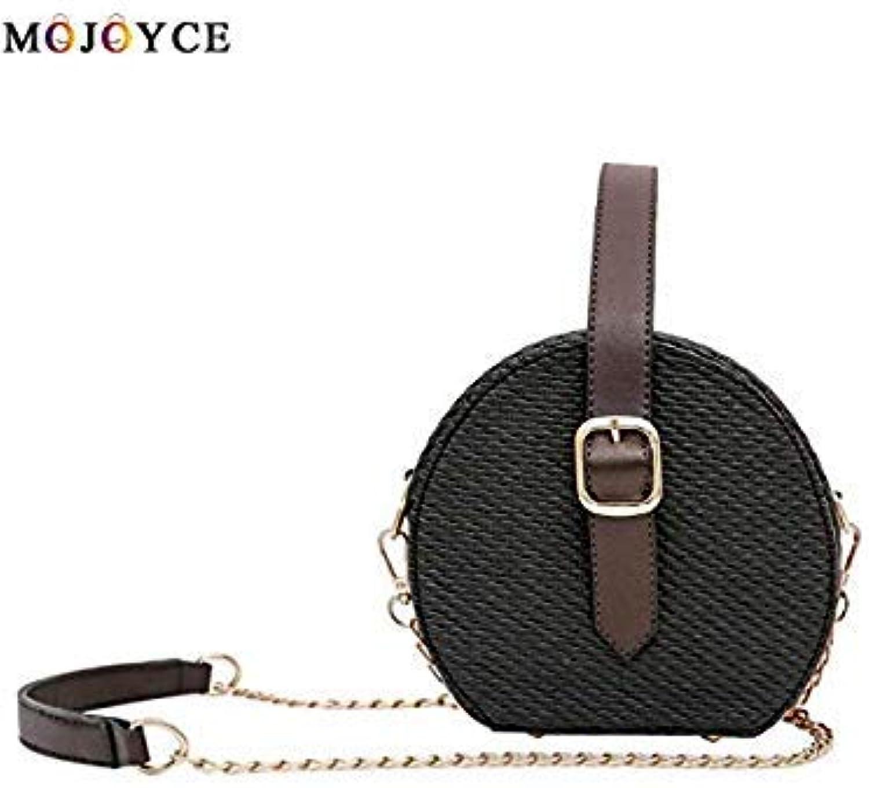 Bloomerang Women Bohemian Round Leather Mini Crossbody Bag Circle Beach Handbag bolsos women de Marca famosa 2018 color Black