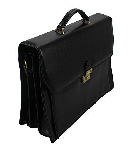 Frederic Johns - Ledertasche mit 3 Abteilen - Aktentasche aus Leder - Dokumententasche aus 3 Balgen - Business-Tasche - Herren Damen Businesstasche für 15,6 Zoll Laptop (Schwarz)