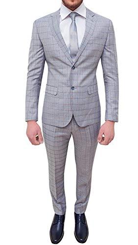 Abito Completo Uomo Sartoriale Grigio Quadri Slim Fit Elegante Cerimonia (52)