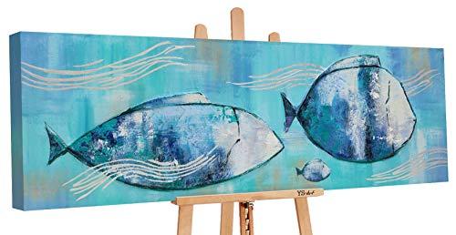 YS-Art Premium | Dipinti a Mano Colori Acrilici comodità di Mare | Quadro Dipinto a Mano | 150х50cm | Pittura | Dipinti Modern | Quadri Dipinti a Mano | Azzurro | PS 016