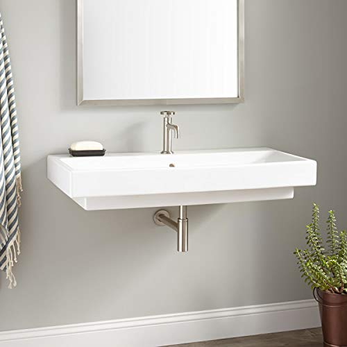 Signature Hardware 937020 Stoddert 40' Vitreous China Wall Mounted Bathroom Sink with Single Faucet Hole and Overflow