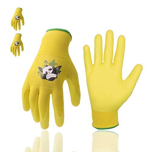 Guantes de jardinería para niños, 3 pares de guantes de jardín para niños con palma recubierta de goma para niños de 2 a 13 años (talla 5 de 9 a 10 años), amarillo 3 pares)