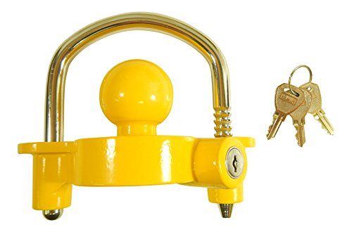 Tucson Tools Keyed Alike Heavy Duty Universal Trailer Coupler Lock Fits 1 7/8' and 2' Ball W/Three Keys!
