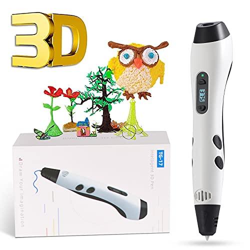 Pluma de Impresión 3D, GIANTARM Pluma 3D con Pantalla LCD,filamento PLA de 12 Colores, Temperatura Ajustable/Velocidad, Boquilla Intercambiable, Juego de lápices de impresión 3D como Regalo Creativo