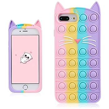 Coralogo Color Cat Case for iPhone 6 Plus/6S Plus/7 Plus/8 Plus Cartoon Funny Kawaii Cute Silicone Cover Fidget Unique Design Aesthetic for Girls Boys Kids Cases for iPhone 6/6S/7/8 Plus 5.5