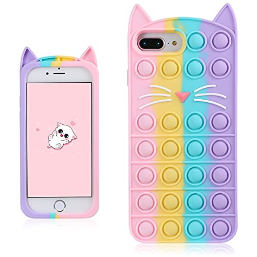 Coralogo Color Cat Case for iPhone 6 Plus/6S Plus/7 Plus/8 Plus Cartoon Funny Kawaii Cute Silicone Cover Fidget Unique Design Aesthetic for Girls Boys Kids Cases(for iPhone 6/6S/7/8 Plus 5.5″)