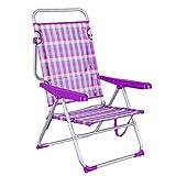 LOLAhome Tumbona Cama de Playa 4 Posiciones de Aluminio y textileno (Rosa y Violeta)