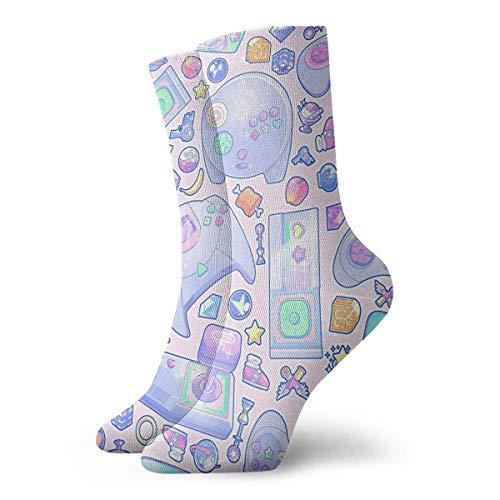 Be-ryl Jugar Juegos Level Up Novelty Crew Socks Athletic Socks Medias 30CM