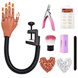 Practice Hand for Acrylic Nails-Flexible Moveable Nail Practice Hand Kits,False Fake Nail Mannequin Hands For Nails Art DIY Print Practice Tool with Nail Files,Brush,Clipper and 300pcs Nail Tips