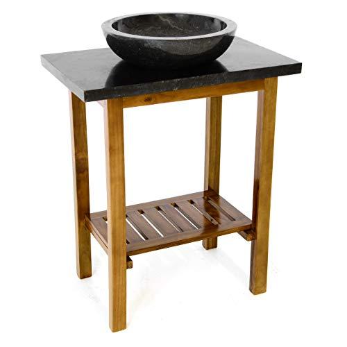 Divero Waschtisch Teakholz Platte und Waschbecken Marmor schwarz Badmöbel Unikat Stein poliert
