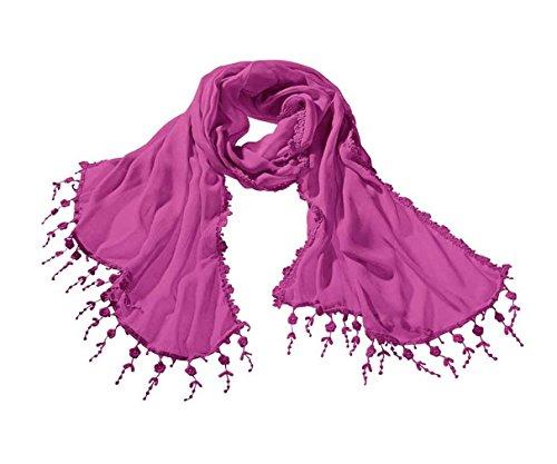 Heine Damen-Schal, Halstuch, Schal mit Häkelspitze, pink