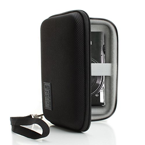 USA Gear Hard Shell Compact Camera Case for Canon PowerShot ELPH 350 HS, SX610 HS, ELPH 170 is, ELPH 190 is and More with Weather Resistant Design, Removable Wrist Strap, Netted Accessories Pouch