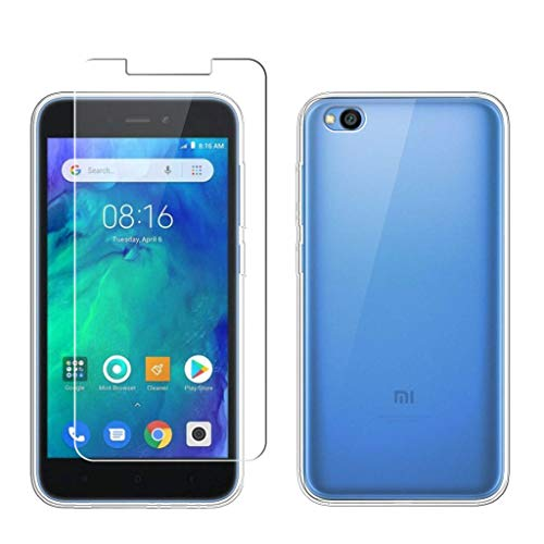 "LJSM Funda para Xiaomi Redmi Go + Protector de Pantalla Templado Film Película Protectora - Transparente Carcasa Silicona TPU Suave Caso Case para Xiaomi Redmi Go (5.0"") -Clear"