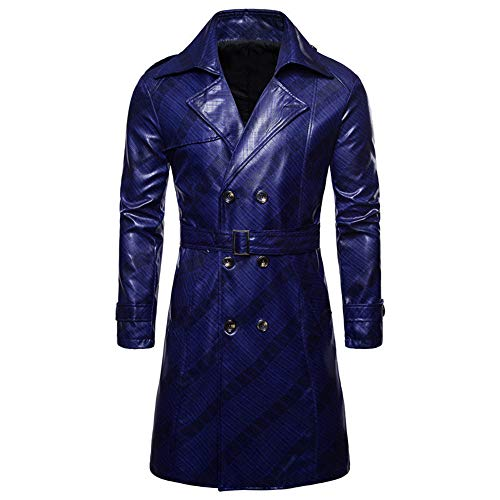 PANBOB Men Jacket Windproof Waterproof Warm Synthetic Leather Long Sleeve Spring and Autumn Motorcycle Jacket Fashion Trend Business Casual Retro Men Coat B-Blue XL