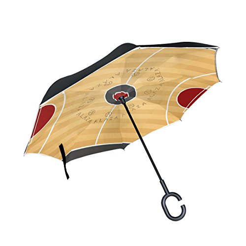 XiangHeFu Double Layer seitenverkehrt Rückseite Regenschirm Top View der Basketball Court Faltbar Winddicht UV-Schutz Big Gerade für Auto mit C-Förmigem Henkel
