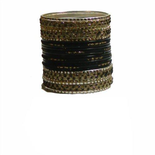 Indische Bangles 24 Armreifen Lovely schwarz Gold 6,5 cm mit Bindis Bollywood Sari Schmuck