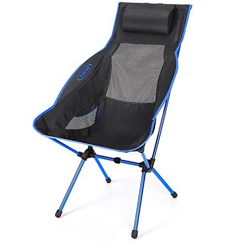 G4Free Silla de camping plegable, ligera de respaldo alto con almohada extraíble, bolsillo lateral y bolsa de transporte, compacta y resistente para exteriores, picnic, festival, senderismo, mochila
