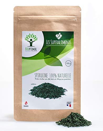 Spiruline Bio - Bioptimal - Complément alimentaire - Spiruline - BCAA - Superaliment - Energie - 65% Protéines - 17% Phycocyanine - Conditionnée en France - Certification Ecocert - 100g paillette