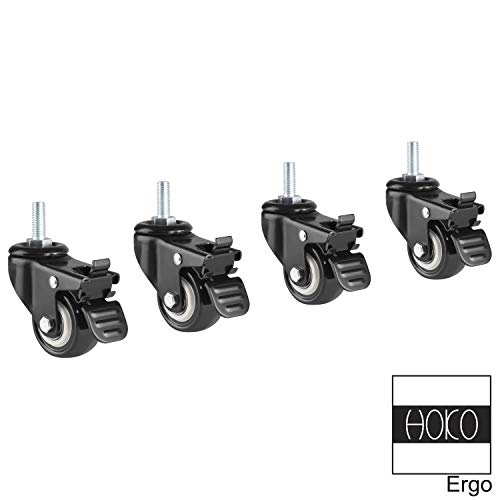 HOKO® Rollen 50 mm, 4er Set Lenkrollen mit Bremse, M8, Tragkraft 150 kg. Perfekt passend Ergo-Work-Table Höhenverstellbarer Schreibtisch Comfort und Basic. Auch für Möbel, Palettenmöbel etc.