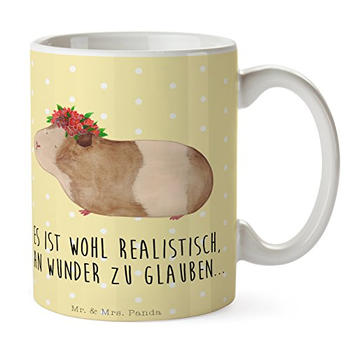 Mr. & Mrs. Panda Frühstück, Kaffeetasse, Tasse Meerschweinchen weise mit Spruch - Farbe Gelb Pastell