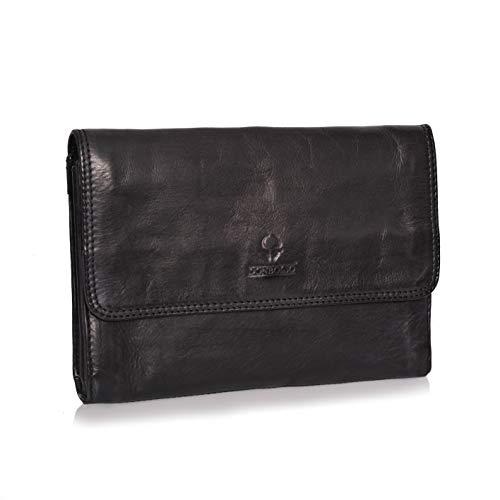 DONBOLSO® Handtasche Mailand I Clutch aus Nappa-Leder I kleine Abendtasche I Damentasche mit abnehmbarem Schultergurt und Handschlaufe I Schwarz