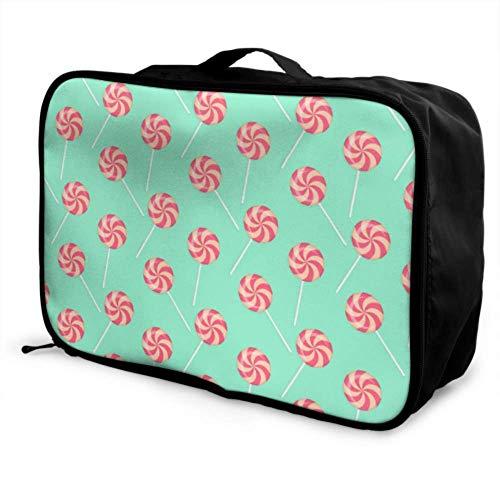 Custom Carry-on Garment Bag Lightweight Sweet Cute Dessert Lollipop Gift Best Travel Duffel Bag Foldable Portable Storage Luggage Bag With Trolley Sleeve