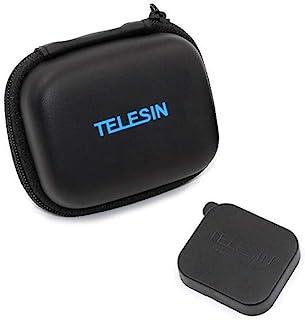 TELESIN PU Cuero Mini Bolsa Impermeable Estuche Protectora de Cámara Funda de Viaje + Tapa de Lente para GoPro Hero 7/(2018)/6/5/4/3 Session Polaroid/AKASO/Campark/SJCAM/Xiaomi YI (Negro)