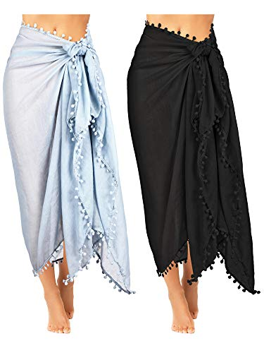 2 Pieces Women Beach Sarong Pareo Swimsuit Cover Ups Chiffon Long Sarong Wrap Pareo with Tassel for Women Girls (Black, Grey)