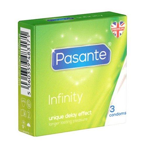 Pasante Infinity (Delay), aktverlängernde Kondome mit Wirkstoff - Orgasmus verzögern - länger durchhalten für optimale Befriedigung, 1 x 3 Stück