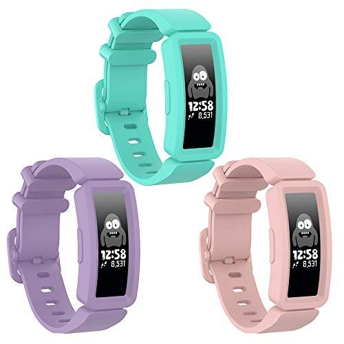 Vozehui kompatibel mit Fitbit Ace 2 Armband für Kinder 6+, weiches Silikonarmband Zubehör Uhrenarmband Repalcement Armband, Bunte Sport Armbänder für Fitbit Ace 2/Inspire HR für Jungen Mädchen