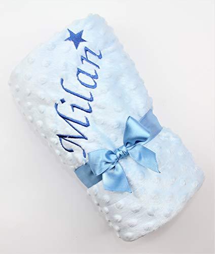 Baby Decke mit Namen bestickt (blau)