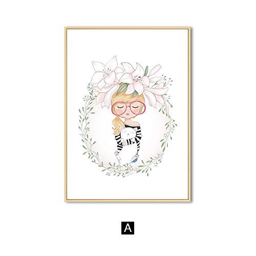 yaofale Kein Rahmen Moderne Karikatur niedlichen Mädchen Leinwand Malerei schöne rosa Blume Wandkunst Poster und Drucke dekorative Bild für Kinder Wohnzimmer 60x90cm