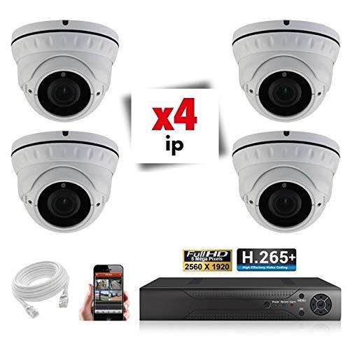 Kit Videosorveglianza 4 Telecamere Zoom Auto 5X IP POE Pro Full HD 2.4 MP - 6000 GB, 2 Cavi da 30 m + 2 x 20 m, Schermo 22''