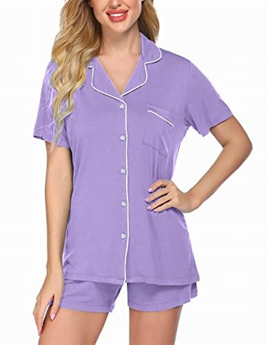 Ekouaer Ladies Sleepwear Set Button Front Pajamas Notch Collar Pj Shirts and Shorts Loungewear Sets (Lavender,Medium)