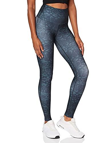 Amazon Brand -AURIQUE Leggings deportivos de talle alto para mujer, Negro (Snake Print), 42, Label:L