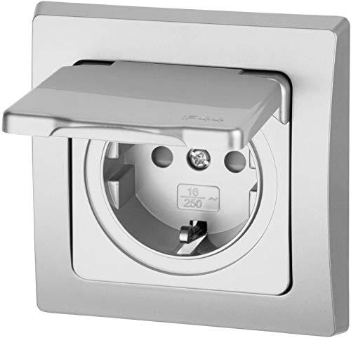 Enchufe para ambientes húmedos con tapa de muelle IP44, todo en uno, marco + inserto + cubierta + anillo de silicona, C1, plateado