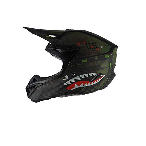 O'NEAL | Motorrad-Helm | Motocross, Enduro | 2 Außenschalen & 2 EPS für erhöhte Sicherheit, ABS Schale, Nasenschutz aus Gummi | 5SRS Polyacrylite Helmet Warhawk | Erwachsene | Grün Schwarz | Größe XL