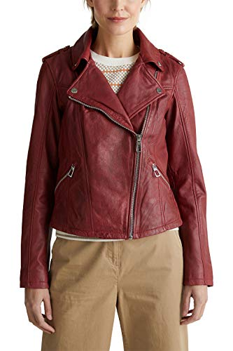 ESPRIT Damen 020EE1G314 Lederjacke, 610/DARK RED, Medium