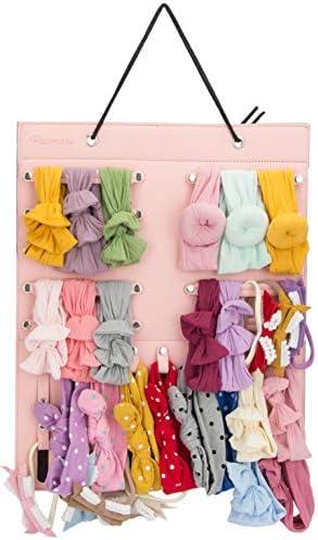 Pacmaxi Baby Girl Headbands Storage Holder Newborn Headbands and Bows Hanging Organizer Pink product image