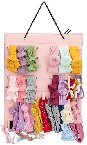 Hanging Baby Girl Headbands Storage Organizer, Newborn Headbands and Bows Holder(10 Snap Band+18 Snaps,Pink)