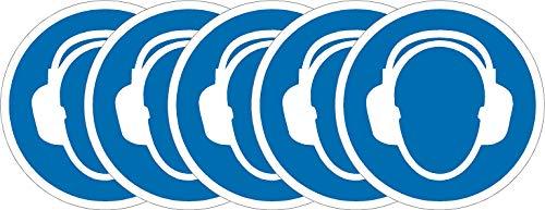 International ISO Gehörschutz Erforderliche Symbol Sicherheitszeichen - Selbstklebende Aufkleber mit 50 mm Durchmesser (Packung mit 5 Aufkleber)