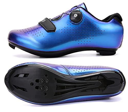 Zapatillas de ciclismo para hombre y mujer con tacos compatibles con pedales SPD y Delta Lock Pedal de bicicleta para exteriores e interiores y exteriores Peloton transpirables, Blue, 47 EU