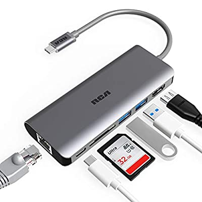 USB C Hub, RCA 6 in 1 USB C Adapter with Ethernet, 4K HDMI, USB C Power Delivery, 2 USB 3.0 Ports, SD Card Reader, Portable Type C Hub for Type C Laptop, Computer and Other Type C Devices