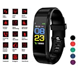 Smart Watch Fitness Tracker Band - Activity & Sleep Monitor for Men Women Kids, Blood Pressure & Heart Rate Monitor, Pedometer, Calorie Counter - Waterproof Wristband w/Android & iPhone App (Black)