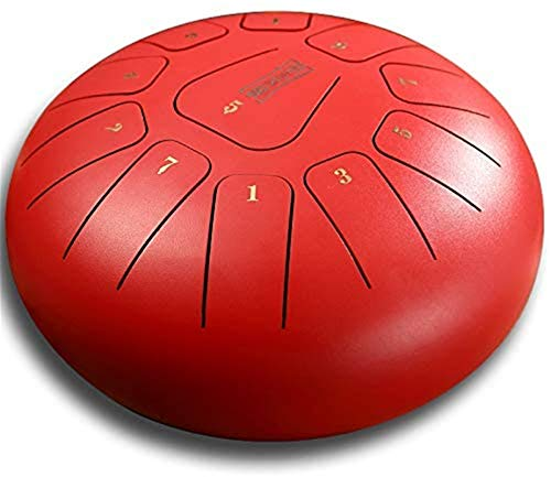 Tambor Handpan, Tambor de la lengua de acero, 11 notas 12 pulgadas, oro rojo, conjuntos de dedos, con mazo musical y bolsa de viaje for meditación personal, meditación personal, yoga, zen, musicoterap