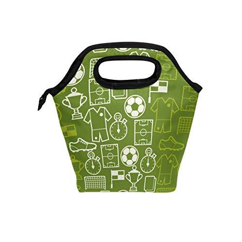 tizorax Sport Fußball Symbole Isolierte Lunch-Tasche Outdoor Reise Picknick Tragetasche Lunch Handtaschen Tote für Damen Herren Kinder