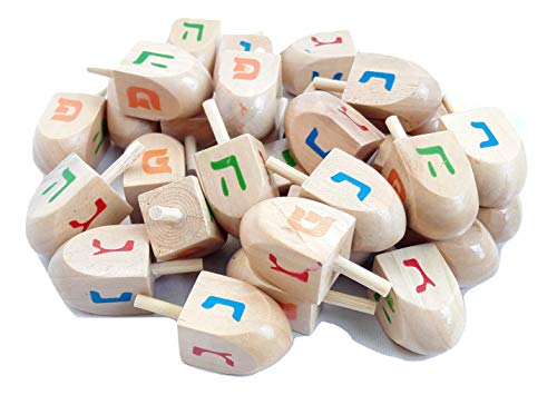 Lot 30 Pc Natural Wood Spinning Top Dreidel Hanukkah Sevivon NES Gadol Haya Po.Made in Israel